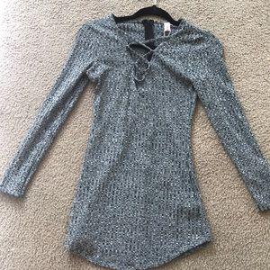 Grey lace up dress xxs